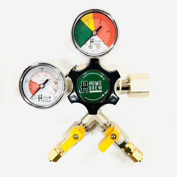 Regulador de Pressão para CO2 - 2 Vias - ALUMÍNIO