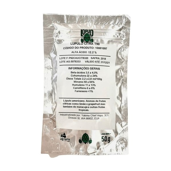 Lúpulo AGRÁRIA Citra - 50g (pellets)