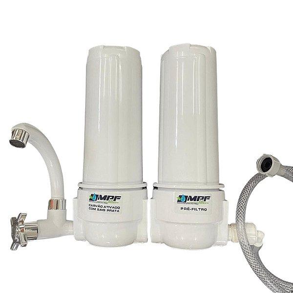 "Filtro Duplo de Água - 9"" - 3/4 (com filtros) - CARCAÇA BRANCA"