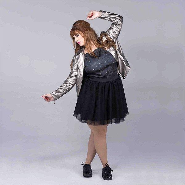 Jaqueta de Couro Metalizada Plus Size