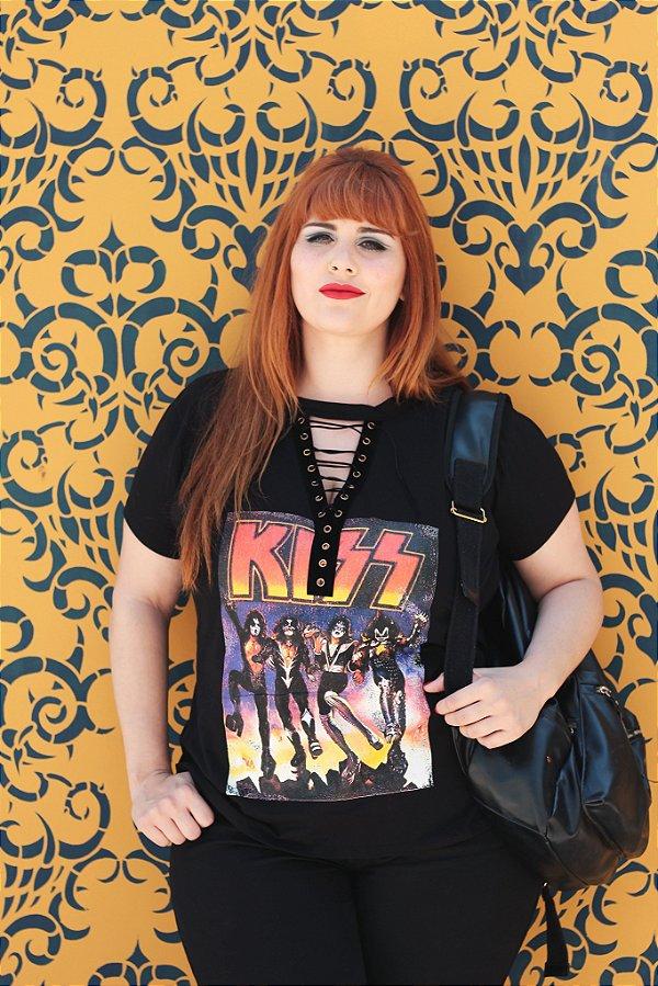 T-shirt Choker Kiss Band - Plus Size