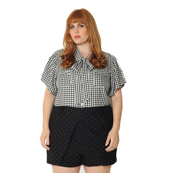 Camisa Plus Size Xadrez Vichy Preta