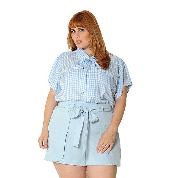 Camisa Plus Size Xadrez Vichy Azul