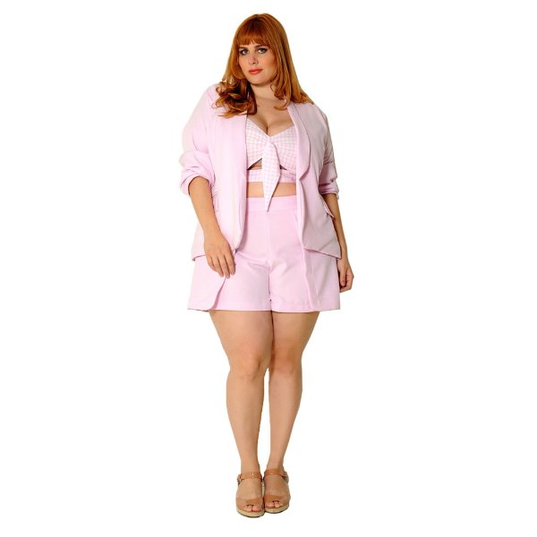 Blazer Gola Smoking Plus Size Rosa Quartz