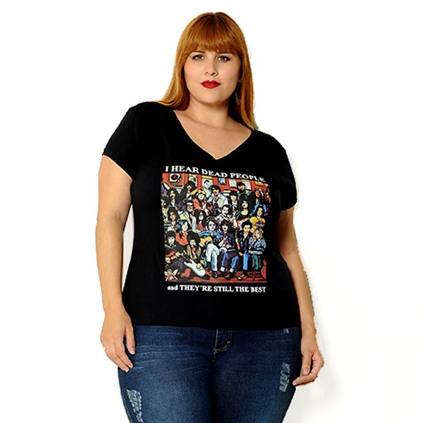 Camiseta plus size I hear dead people Preta