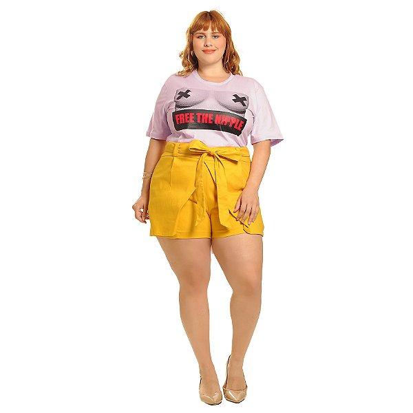 T-Shirt Plus Size Free The Nipple Lilás
