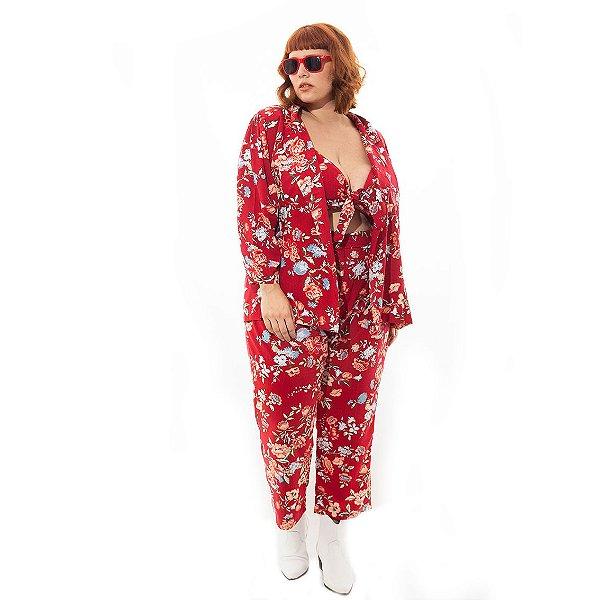 Calça Pantacourt Floral Plus Size Vermelha