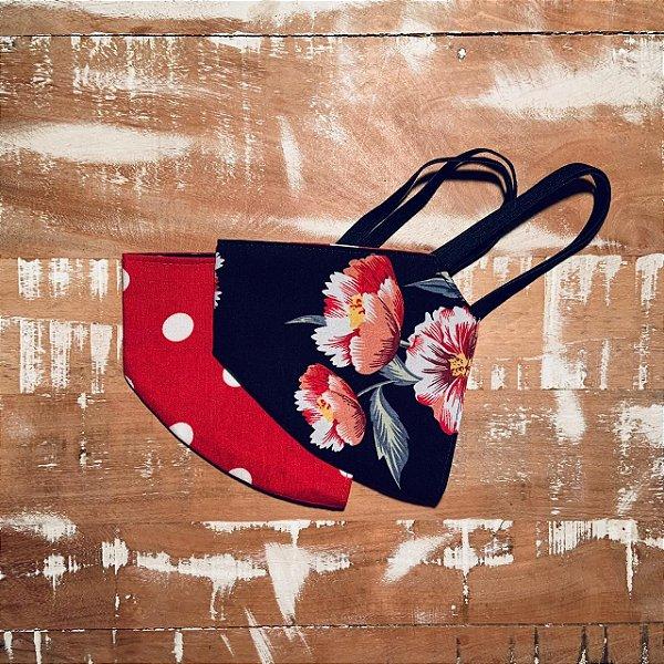 Máscara Poá vermelho com Floral preto