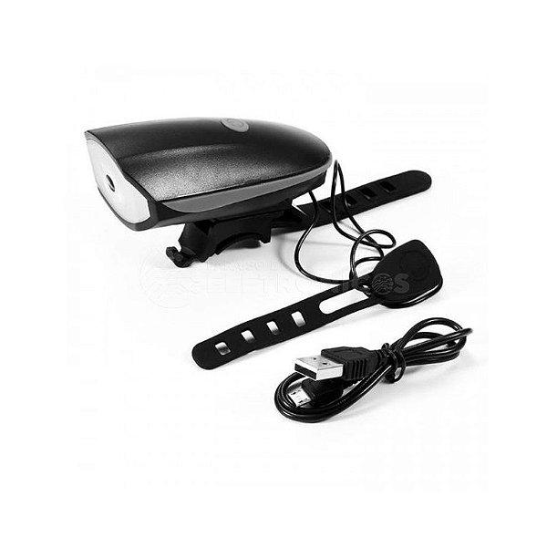 Farol e Buzina Sirene Elétrica Speaker USB Preto
