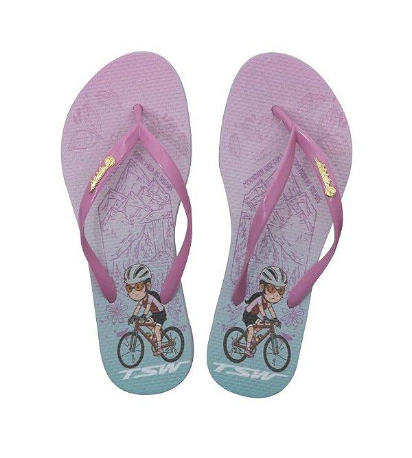 Chinelo TSW Feminino Modelo 18 Ciclista Rosa Azul Tam 33/34