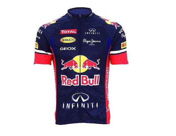 Camisa de Ciclismo Masc Red Bull Ziper Inteiro Azul Tam G
