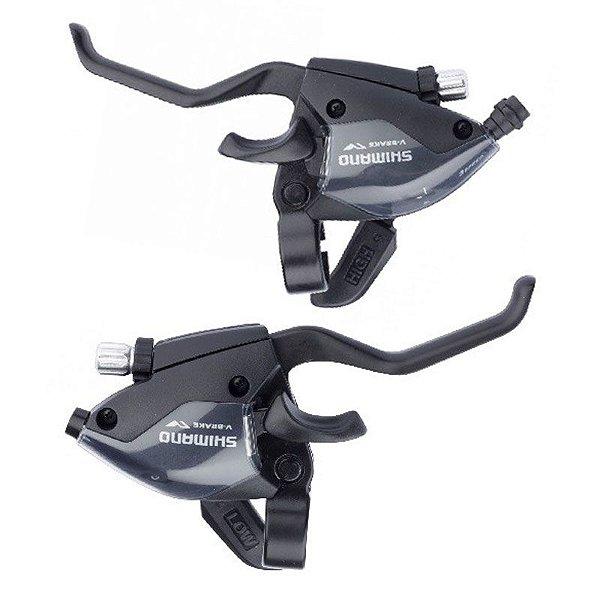 Alavanca de Câmbio e Freio (Par) Shimano EF51 EZ Fire 3x7 Preto