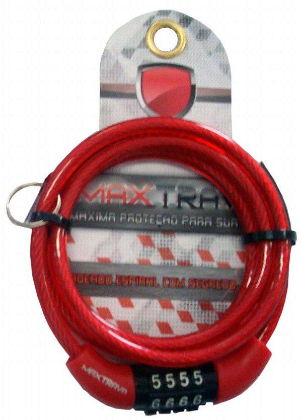 Cabo de Aço com Trava Max Trava MXTRA0011 de Segredo Comprimento 1mt Diâmetro 6mm Vermelho