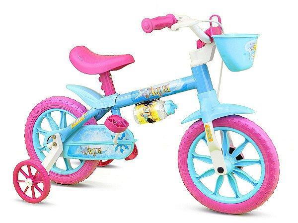 Bicicleta Infantil Nathor Aro 12 Aqua Rosa Azul