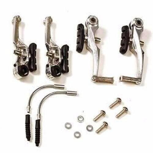 Freio V-Brake Logan Aluminio Dianteiro e Traseiro Par Polido