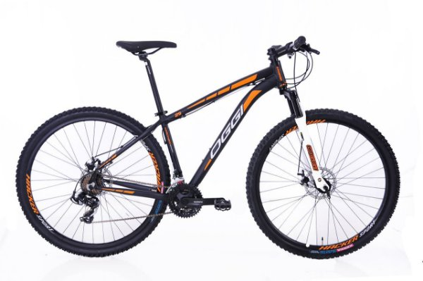 Bicicleta Oggi Hacker Sport MTB 29er Shimano 21Vel Disco Mecanico Preto Laranja