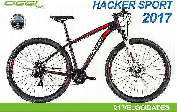 Bicicleta Oggi Hacker Sport MTB 29er Shimano 21Vel Disco Mecanico Preto Vermelho