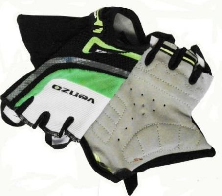 Luva Venzo VXG de Ciclismo Unissex MTB Speed Lazer Dedo Curto Verde Branco