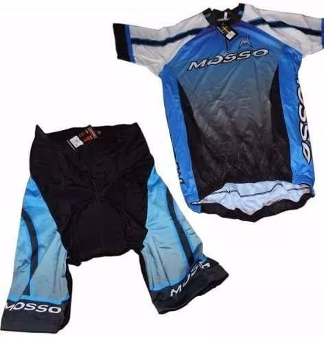 Conjunto Mosso Bermuda e Camisa de Ciclismo Masculina Preta Azul