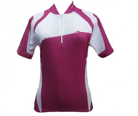 Camisa Barbedo Clear de Ciclismo Feminina Manga Curta Branca Rosa