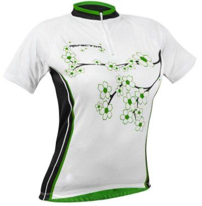 Camisa Refactor Dama de Ciclismo Feminina Manga Curta Branco Verde
