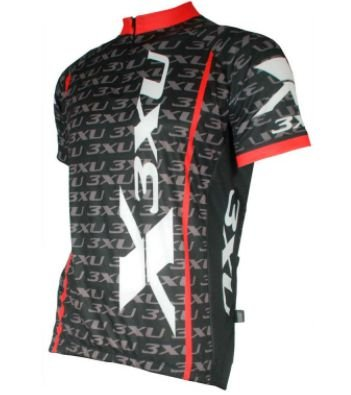 Camisa Refactor 3XU Multiplied de Ciclismo Masculina Manga Curta Preto Vermelho