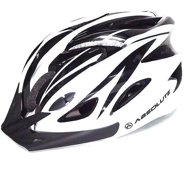 Capacete Absolute de Ciclismo MTB Lazer com luz traseira Branco Preto