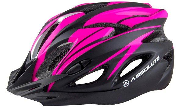 Capacete Absolute de Ciclismo MTB Lazer com luz traseira Rosa Preto