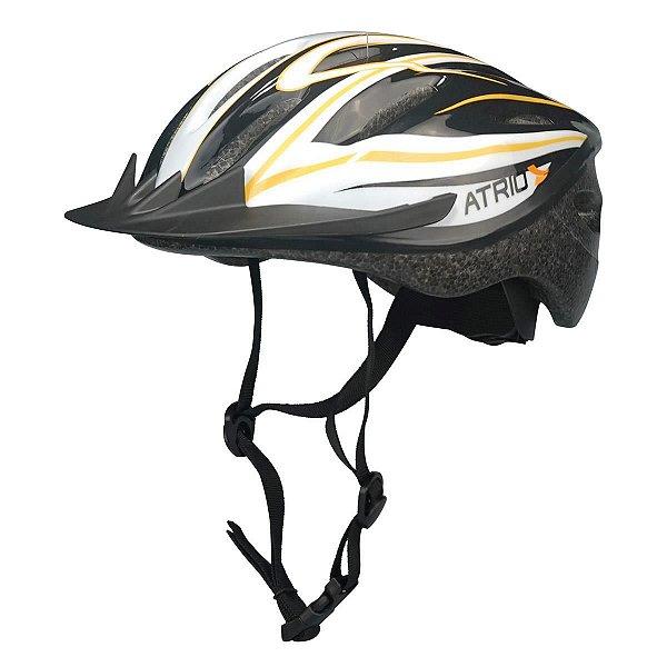 Capacete Atrio OutMode de Ciclismo MTB Lazer Preto Branco Amarelo