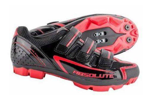 Sapatilha Absolute Nero de Ciclismo MTB & Spinning 3 Velcros Preta e Vermelha