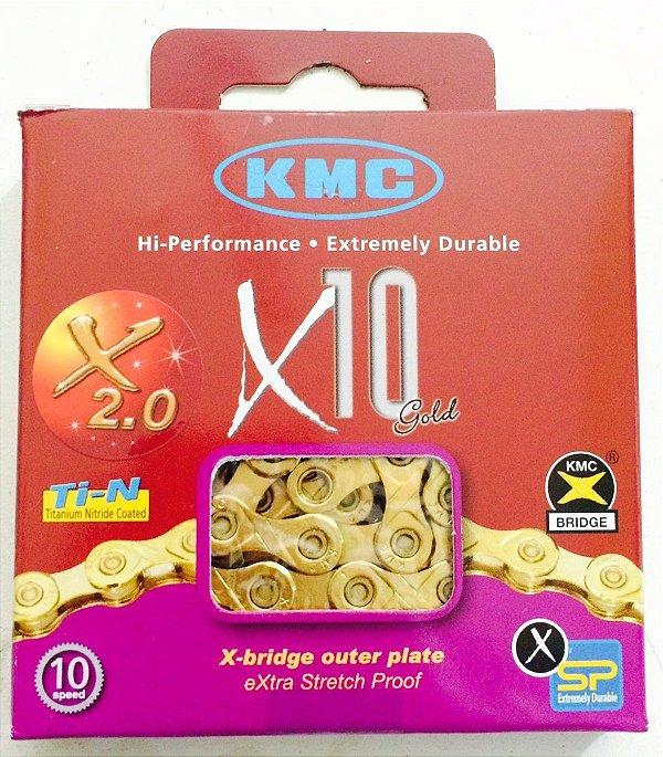Corrente KMC X10 TI-N 116 Elos para 10 Velocidades Dourada