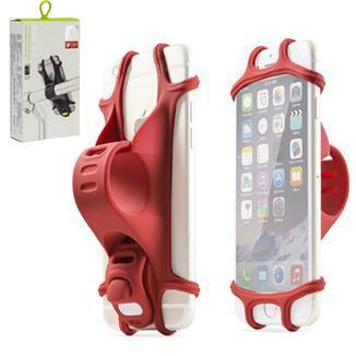 """Suporte para Celular Bike Tie em Silicone para celular de 4"""" a 6 """" Vermelho"""