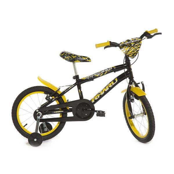 Bicicleta Infantil Rharu Aro 16 Morcego Roda Aluminio Preto Amarelo