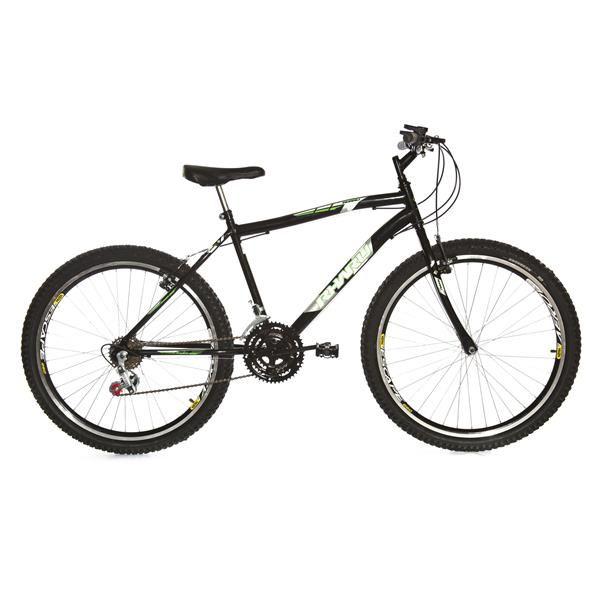 Bicicleta Rharu Combate aro 26  em Aço 18 V Preta
