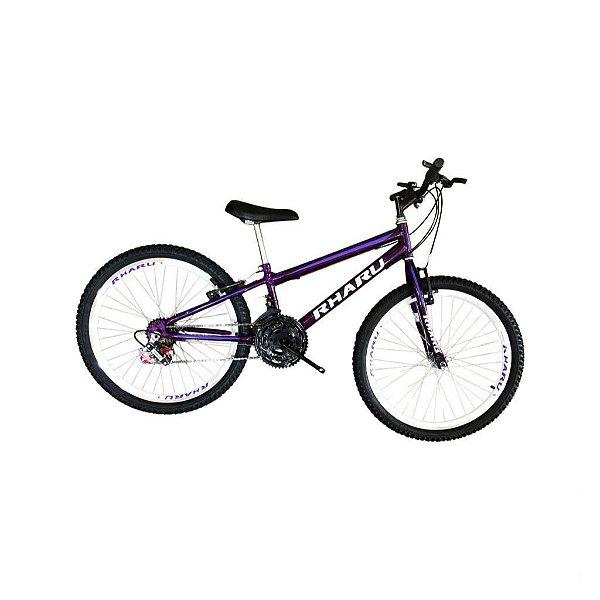 Bicicleta Rharu Aro 24 Violeta Com Marcha Com Roda Aero Rebaixada
