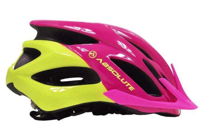 Capacete Absolute MIA de Ciclismo Lazer com luz traseira Rosa Amarelo tam S/M