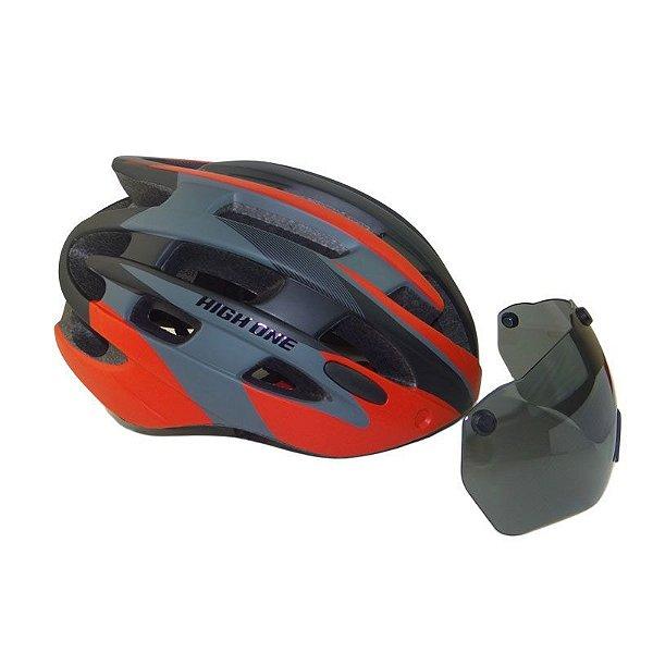 Capacete High One de Ciclismo MTB Speed Lazer Com Oculos de Iman e Luz traseira Preto Vermelho