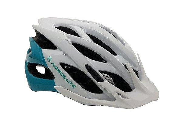 Capacete Absolute MIA de Ciclismo Lazer com luz traseira Branco Verde tam S/M