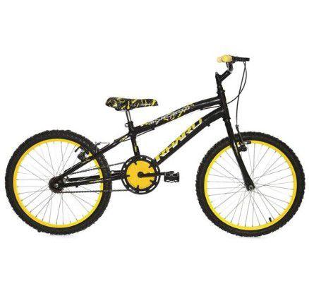 Bicicleta Infantil Rharu Aro 20 Roda Aluminio Preto Amarelo