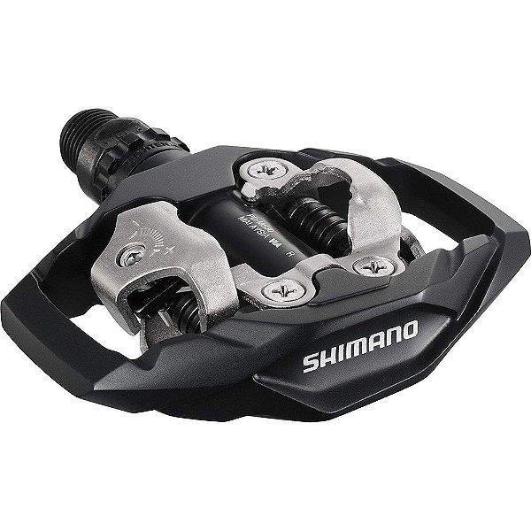 Pedal Shimano PD-M530 Plataforma Clipless SPD de Encaixe com Taquinho Preto