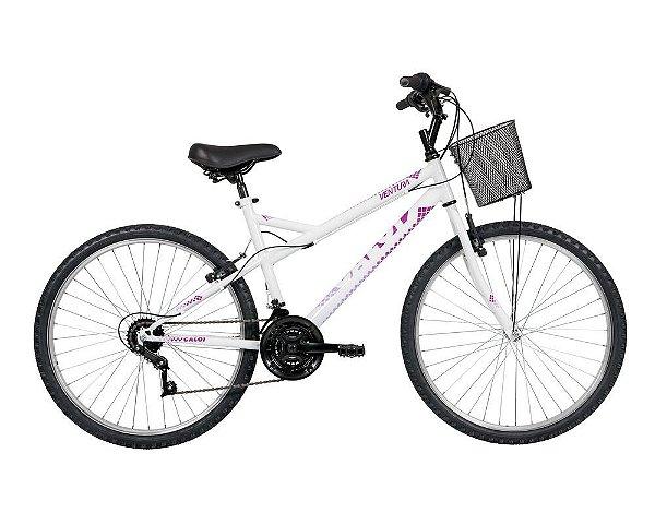 Bicicleta Caloi Ventura aro 26 21V Aço Branca 2020