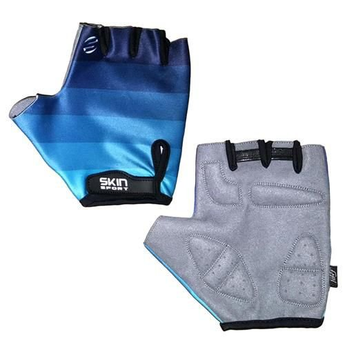 Luva Skin SS Race Gel Deco Curto Azul Degrade Tam GGG
