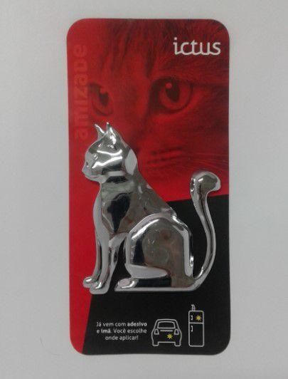 Adesivo para Carro Ictus Gato Cromado Emblema