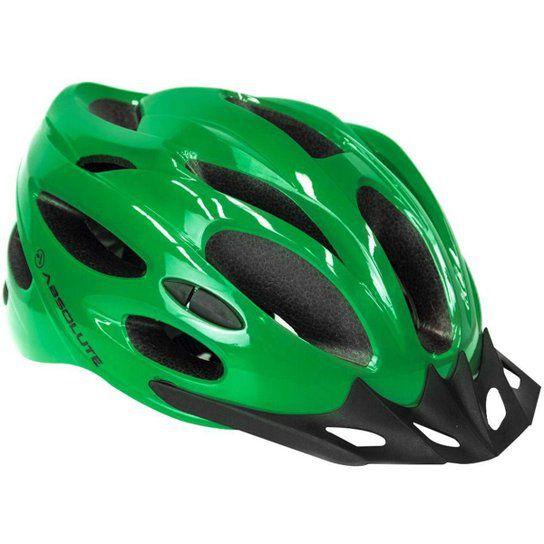 Capacete Absolute Nero Verde Com Luz Traeira Tam M