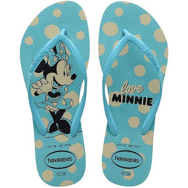 Chinelo Havaianas Kids Slim Disney Minnie Azul Tam 23/24