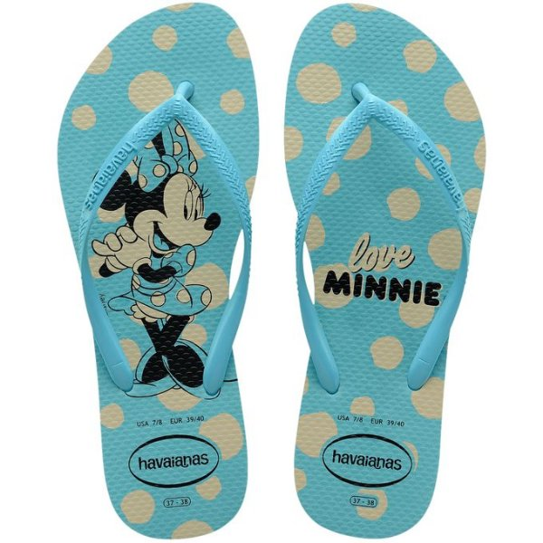 Chinelo Havaianas Kids Slim Disney Minnie Azul Tam 31/32
