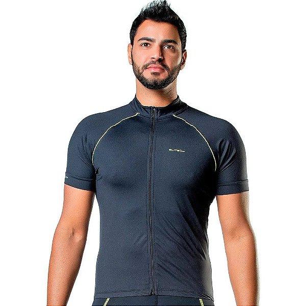Camisa de Ciclismo Elite Masculina Preto Verde Tam GG