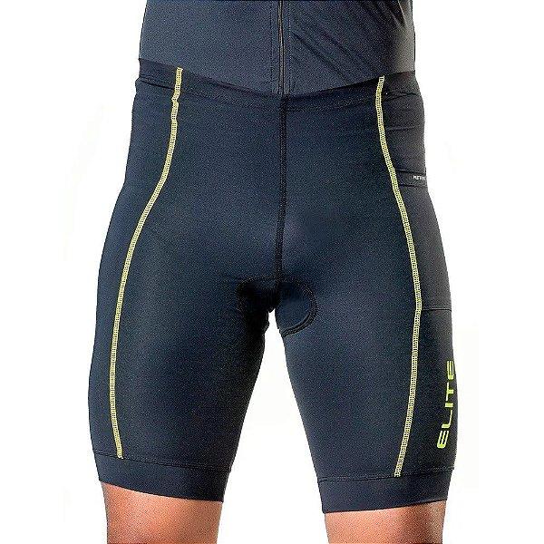 Bermuda de Ciclismo Elite Masculino Preto Verde Tam G