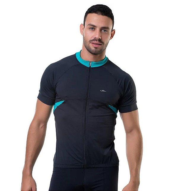 Camisa de Ciclismo Elite Masculina Preto Verde Tam G