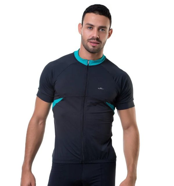 Camisa de Cilismo Elite Masculina Preto Verde Tam GG